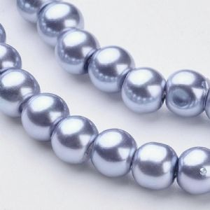 Glass Pearl Beads Cornflower Blue 6mm